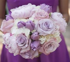Light purple tulip wedding bouquet