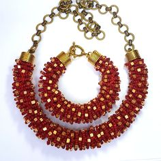 red necklace set jewelry beads seed beads small beads color red statement necklace beaded necklace long boho necklac christmas gold women