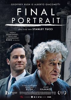 In American writer James Lord is asked to sit for a portrait by artist Alberto Giacometti, which begins their off-beat friendship and gives Lord an insight into the profundity and chaos of the artistic process. Alberto Giacometti, Streaming Movies, Hd Movies, Movies To Watch, Movies Online, Movies Showing, Movies And Tv Shows, Tv Spielfilm, Poster