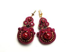 Soutache  marsala & crackle   earrings by Bajobongo on Etsy
