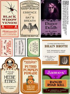 Creepy Halloween Printable  Labels