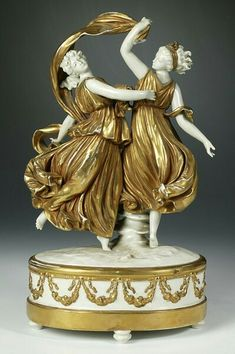 Figurine of Dancers, 19th century Porcelain and gold enamel