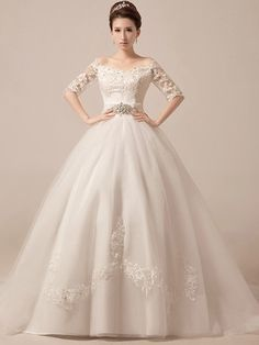 Off Shoulder Wedding Dress Debutante Ball Gown with Sleeves | JoJo's Shop