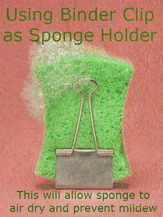 Binder Clip as Sponge Holder #DIY #kitchen