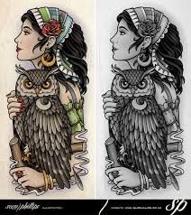 Image result for art nouveau owl tattoo
