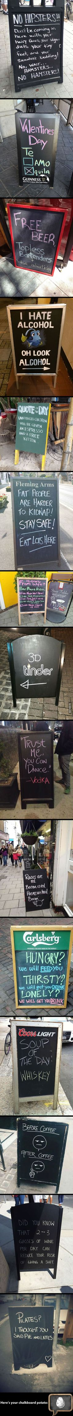 Some of the funniest bar & cafe chalkboard signs