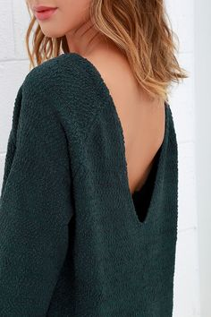 Fireside Sparks Dark Teal Backless Sweater at Lulus.com!