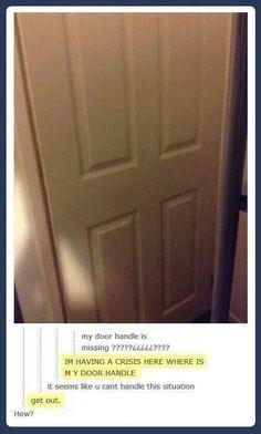 Missing door handle, tumblr funny
