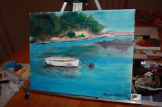 Boat in bay acrylics on canvas. $40 plus shipping. maryjanemcgregor@yahoo.com