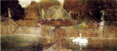 """Galileo Chini (Firenze 1873 – Firenze 1956), """"Il parco"""" (1901),  olio su tela, cm. 77 x 173. Collezione privata"""