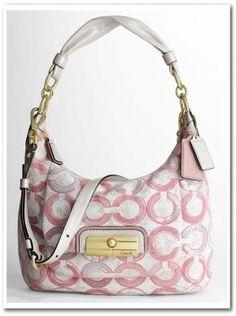 Pink Coach 16791 KRISTIN SEQUIN OP ART HOBO BRASS/PEONY