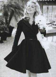 dress + pearls + dog :)