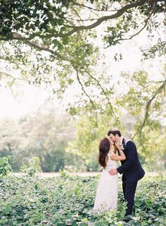 Wedding Day + Tree + Brush + Woods/Fields + Kiss