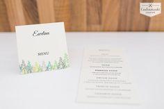 Forest wedding place cards with menu. Winietko - menu z motywem lasu.