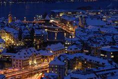 Christmas in Switzerland - Luzern Switzerland In Winter, Lucerne Switzerland, Switzerland Christmas, Switzerland Tourism, Wonderful Places, Beautiful Places, Christmas In Europe, Christmas Markets, Christmas Travel