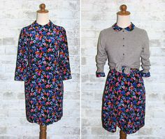 The Vintage Peter Pan Collar Electric Florals Dress (paired with cardigan).