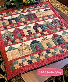 Holiday House small/wall quilt.  Fat Quarter Shop Friday Feature.  Cute!!