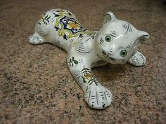 French Faience Enamel Wall Spill Pocket Vase Rouen CAT