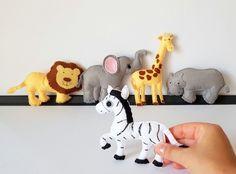 Items similar to Safari Animals Felt Ornament, Jungle Theme Decor, Pretend Play Animals on Etsy Stuffed Animals, Dinosaur Stuffed Animal, Stuffed Toys, Safari Animals, Felt Animals, Safari Nursery, Nursery Decor, Room Decor, Jungle Theme Decorations