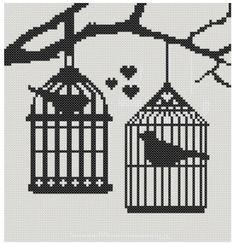 Articles sur Etsy die op Birds in Birdcages Cross Stitch Pattern lijken Cute Cross Stitch, Cross Stitch Bird, Cross Stitching, Cross Stitch Patterns, Bronze Art, Filet Crochet, Bird Cage, Perler Beads, Pixel Art