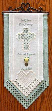 hardanger wedding patterns | Wedding Banner is from the book, Hardanger Lace & Ribbons with designs ...