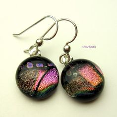 Fascination Round Fused Glass Dichroic Handmade Earrings - Sterling   | Umeboshi - Jewelry on ArtFire