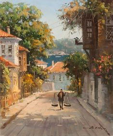 Contact Bülent directly Gallery – Esperanza – Join in the world of pin Pintura Exterior, Street Painting, Turkish Art, Amazing Paintings, Gouache Painting, Islamic Art, Beautiful Landscapes, Landscape Paintings, Watercolor Paintings