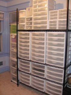 ideas for craft room vinyl storage drawers - Diy Möbel Sewing Room Organization, Craft Room Storage, Craft Rooms, Storage Ideas, Diy Vinyl Storage, Storage Units, Tool Storage, Storage Shelves, Plastic Storage Drawers