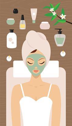 Woman in a spa salon having a facial mask.- Woman in a spa salon having a facial mask. Spa and Relaxation vector art illustration - Spa Facial, Facial Massage, Facial Care, Facial Masks, Skin Care Spa, Diy Skin Care, Images Esthétiques, Best Peel Off Mask, Buch Design