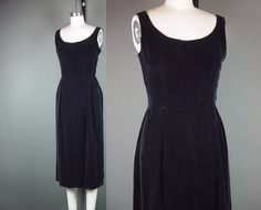 50s Black Dress Vintage 1950s Velvet Party by mustangannees