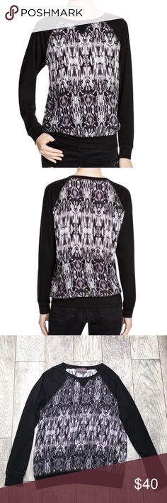 "🎉 SALE! Michael Stars black gray ikat sweatshirt Michael Stars long sleeve black and gray ikat raglan sweatshirt. Super soft, lightweight, stretchy and comfortable! Cute ikat print. EUC- no flaws. Size small.24"" length, 23"" sleeves, 18.5"" bust Michael Stars Sweaters Crew & Scoop Necks"