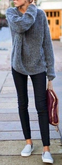 #fall #popular #outfits | Grey Oversized Sweater Black Denim