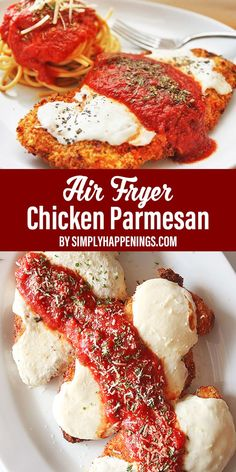 How to make air fryer chicken Parmesan with a crispy panko-Parmesan crust, melted mozzarella, and marinara sauce. Easy Chicken Recipes, Crockpot Recipes, Mac And Cheese Pizza, Chicken Potato Casserole, Pork Tenderloin Sandwich, Simply Recipes, Air Fryer Recipes Easy, Parmesan Recipes