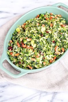 Shredded Kale and Brussels Sprout Salad // Healthy Thanksgiving Recipe // with almonds and cranberries // Eating Bird Food