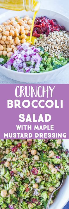 Crunchy Broccoli Salad with Maple Mustard Dressing - She Likes Food