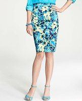 "Petite Garden High Waist Pencil Skirt - We chose a high-waisted pencil silhouette to showcase this stunning print, flaunting watercolor inspired florals popped with vibrant color. Pair with bright strappy heels to add instant pretty to any outfit. Hidden back zipper with hook-and-eye closure. Back vent. Lined. 21 1/2"" long."