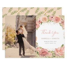 Watercolor Rose Foliage Floral Photo Thank You Card - invitations personalize custom special event invitation idea style party card cards
