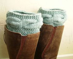 Mint cable knit boot cuffs. Yes!
