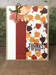 October 2016 Paper Pumpkin, acorn stamp used to make background - Rick Adkins Pumpkin Cards, Diy Pumpkin, Pumpkin Ideas, Stampin Up Paper Pumpkin, Stamping Up Cards, Thanksgiving Cards, Fall Cards, Creative Cards, Diy Cards
