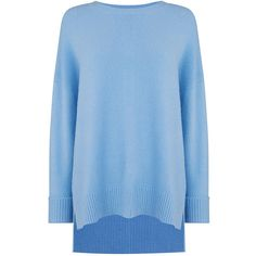 LONG LENGTH PERFECT CREW ($51) ❤ liked on Polyvore featuring tops, sweaters, crew neck jumpers, blue jumper, pastel jumper, blue sweater and long blue sweater