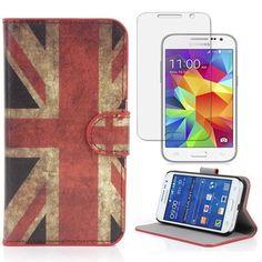 Semoss Retro Design UK Drapeau Coque Cuir Etui Housse pour Samsung Galaxy Core Prime G360 PU England Flag Flip Portefeuille Case Cover…