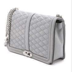 "New Rebecca Minkoff Love JUMBO Crossbody! Brand new, gray, silver hardware. 11.75""W x 8.5""H x 3.5""D 22"" detachable crossbody strap Genuine leather Custom silver hardware Flap closure with turn lock One exterior slip pocket 3 interior slip pockets Exclusive lining + dust bag. TV $400 Rebecca Minkoff Bags Crossbody Bags"
