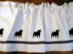 Pug Dog Window Valance / Curtain  - Your Choice of by PaintedPooches, $29.50