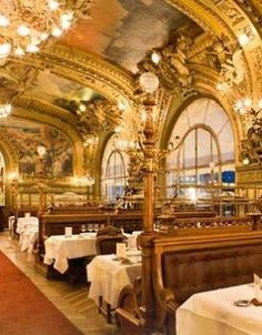 """Le Train Bleu (""""The Blue Train"""") is a restaurant located in the hall of the Gare de Lyon railway station in Paris, France. Paris Travel, France Travel, Places Around The World, Around The Worlds, Le Train Bleu, Places To Travel, Places To Visit, Restaurant Paris, Paris Restaurants"""