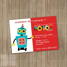 Robot Party Invitation.