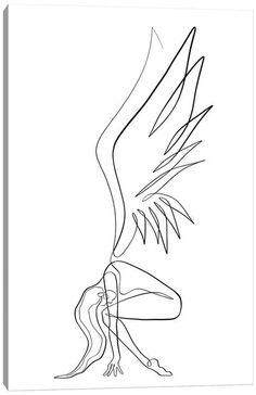 Line Art Tattoos, Small Tattoos, Angel Tattoo Drawings, Small Phoenix Tattoos, Tattoo Design Drawings, Tattoo Sketches, Art Drawings Sketches Simple, Pencil Art Drawings, Canvas Artwork