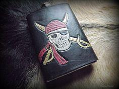 Custom Leather Flask  Jolly Roger Pirate Flag by BeastmanCaravan