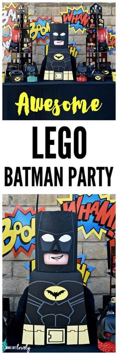 LEGO Batman Party Ideas. Love the giant LEGO Batman made out of a cardboard box!