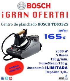 Centro de planchado BOSCH TDS3525.2300 W. 5 bares. 120 g/min. Autonomía ilimitada. 1,4 litros. Base profesional. PulseSteam 150 g.