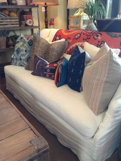 Cisco brothers slipcovered sofa in white linen